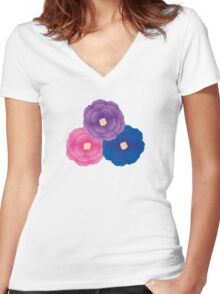 Cute Flowers Women's Fitted V-Neck T-Shirt