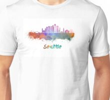 Seattle V2 skyline in watercolor Unisex T-Shirt