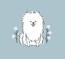 Pom Pom Puppy Dog - pomeranian white by Zoe Lathey