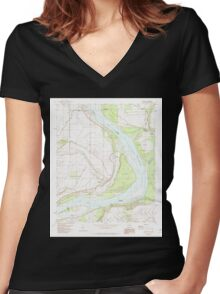 USGS TOPO Map Arkansas AR Laconia 258878 1982 24000 Women's Fitted V-Neck T-Shirt