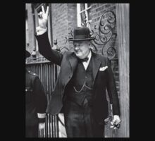Winston, Churchill, British prime minister, V sign, Victory, 1943, WWII Kids Tee