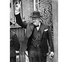 Winston, Churchill, British prime minister, V sign, Victory, 1943, WWII Photographic Print
