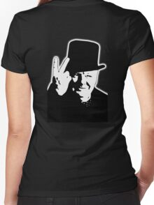 V sign, Victory, V, 1943, WWII, Winston, Churchill, British prime minister,  Women's Fitted V-Neck T-Shirt