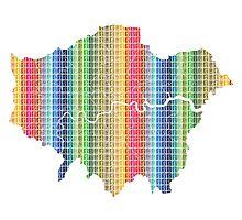 London Boroughs Map - Rainbow Photographic Print