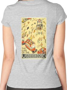 UNDERGROUND, TUBE, VINTAGE, POSTER, The Lure of the Underground. Artist: Alfred Leete. Published by: Underground Electric Railway Company Ltd. Year: 1927. Women's Fitted Scoop T-Shirt