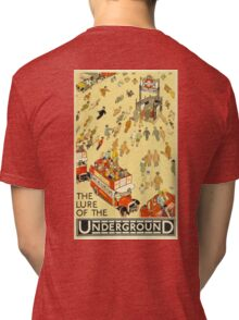 UNDERGROUND, VINTAGE, POSTER, The Lure of the Underground. Artist: Alfred Leete. Published by: Underground Electric Railway Company Ltd. Year: 1927. Tri-blend T-Shirt