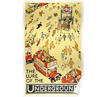 UNDERGROUND, TUBE, VINTAGE, POSTER, The Lure of the Underground. Artist: Alfred Leete. Published by: Underground Electric Railway Company Ltd. Year: 1927. Poster