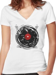 Enchanting Vinyl Records Vintage Twirls Women's Fitted V-Neck T-Shirt