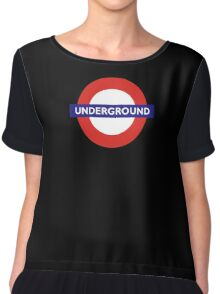 UNDERGROUND, TUBE, LONDON, GB, ENGLAND, BRITISH, BRITAIN, UK on BLACK Chiffon Top