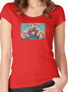 Camera & Hydrangea Women's Fitted Scoop T-Shirt