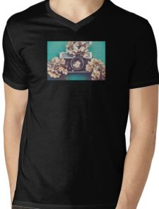 Camera & Hydrangea Mens V-Neck T-Shirt