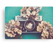 Camera & Hydrangea Canvas Print