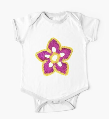 Pink, yellow croche flowers One Piece - Short Sleeve