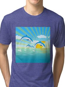 Dolphins in the Sea Tri-blend T-Shirt