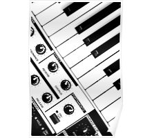 Synthesizer In Black & White Poster