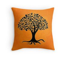 Life Tree on Orange Mandala Throw Pillow