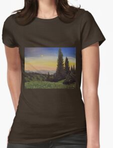 Moonlit Smoky Mountain Evening Womens Fitted T-Shirt