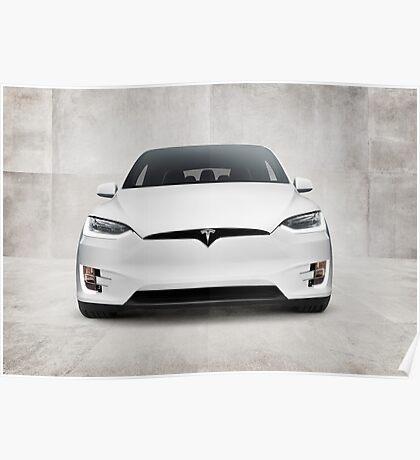 White 2017 Tesla Model X electric car front view art photo print Poster