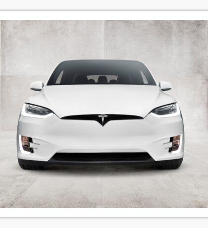 White 2017 Tesla Model X electric car front view art photo print Sticker