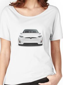 White 2017 Tesla Model X luxury SUV electric car front isolated art photo print Women's Relaxed Fit T-Shirt