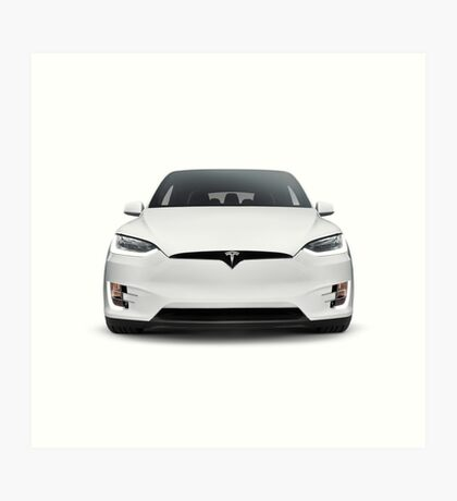 White 2017 Tesla Model X luxury SUV electric car front isolated art photo print Art Print
