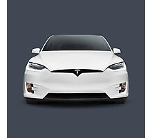 White 2017 Tesla Model X luxury SUV electric car front art photo print Photographic Print