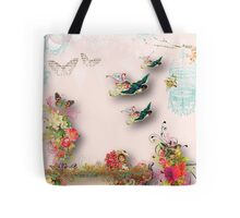 Shabby chic,vintage,birds,a little flower girl,flowers,bird cage,butterflies,country chic,nature Tote Bag