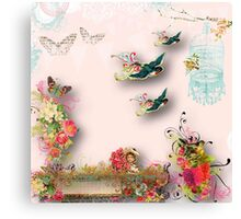 Shabby chic,vintage,birds,a little flower girl,flowers,bird cage,butterflies,country chic,nature Canvas Print