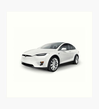 White 2017 Tesla Model X luxury SUV electric car isolated art photo print Art Print