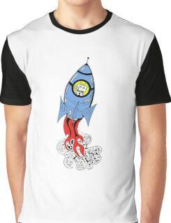 Happy Waving Robot in Rocket Graphic T-Shirt