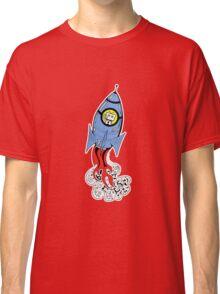 Happy Waving Robot in Rocket Classic T-Shirt