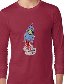 Happy Waving Robot in Rocket Long Sleeve T-Shirt