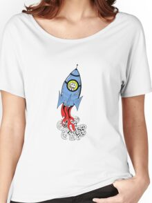 Happy Waving Robot in Rocket Women's Relaxed Fit T-Shirt