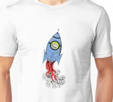Happy Waving Robot in Rocket Unisex T-Shirt