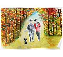 Scottie Dog 'Autumn Walk' Watercolour Poster