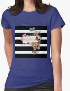 Whimsical,modern,trendy,pattern,butterflies,old and new,white,black,stripes,beautiful,gold text,typography Womens Fitted T-Shirt