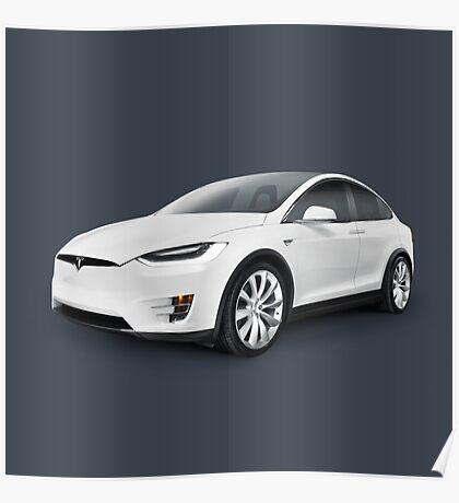 Tesla Model X luxury SUV electric car art photo print Poster