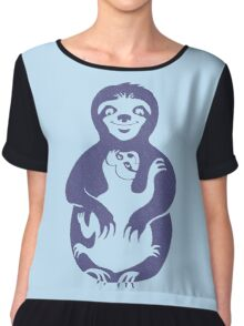 Momma Sloth and Baby in Retro Blue Chiffon Top