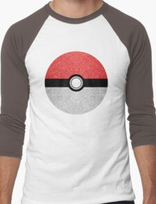 Sparkly red and silver sparkles poke ball on dark gray  Men's Baseball ¾ T-Shirt