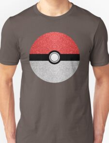 Sparkly red and silver sparkles poke ball on dark gray  Unisex T-Shirt