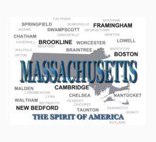 Massachusetts Map  Kids Tee