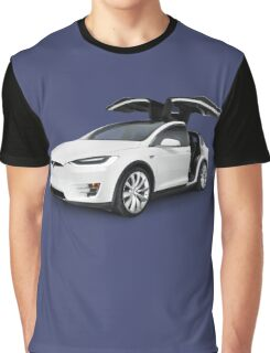 White 2017 Tesla Model X luxury SUV electric car with open falcon-wing doors art photo print Graphic T-Shirt