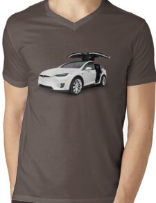 White 2017 Tesla Model X luxury SUV electric car with open falcon-wing doors art photo print Mens V-Neck T-Shirt