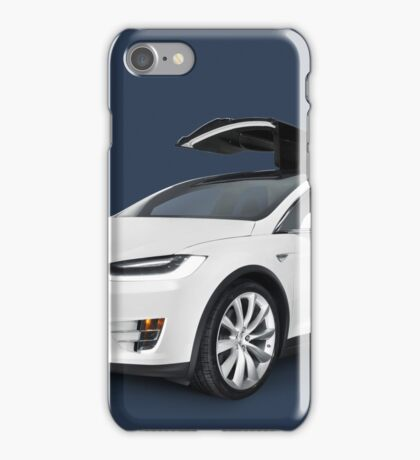 White 2017 Tesla Model X luxury SUV electric car with open falcon-wing doors art photo print iPhone Case/Skin