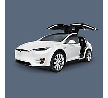 White 2017 Tesla Model X luxury SUV electric car with open falcon-wing doors art photo print Photographic Print