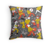 Mid Century Marching Band Parade Throw Pillow