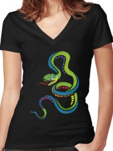 Colorful Abstract Snake Art Women's Fitted V-Neck T-Shirt