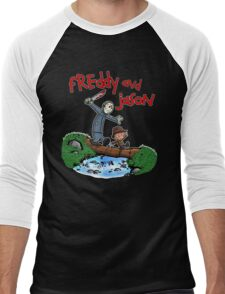 Freddy and Jason - Calvin and Hobbes Mash Up Men's Baseball ¾ T-Shirt