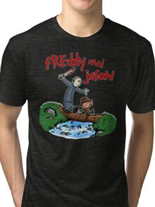 Freddy and Jason - Calvin and Hobbes Mash Up Tri-blend T-Shirt