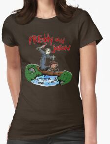 Freddy and Jason - Calvin and Hobbes Mash Up Womens Fitted T-Shirt